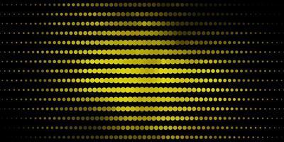 mörkgrön, gul bakgrund med cirklar.