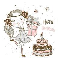 Geburtstagskarte des Mädchens mit Geschenken und Kuchen vektor