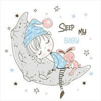 söt liten pojke som sover sött på månen vektor