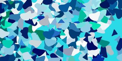 hellblaue, grüne Vorlage mit abstrakten Formen. vektor