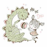 kleines Mädchen, das Ball mit ihrem Haustierdinosaurier spielt