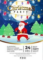 Weihnachtsfeier-Ereignisplakatdesign mit dem verrückten Tanz des niedlichen Weihnachtsmanns mit nächtlichem Hintergrund