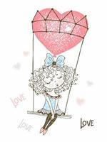söt flicka som flyger på en ballong vektor