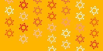 hellroter, gelber Hintergrund mit Virensymbolen.