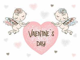 Amoren tragen ein großes Herz. fröhlichen Valentinstag