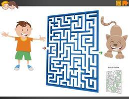 labyrint spel med tecknad pojke och kattunge vektor