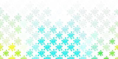hellblaues, grünes Muster mit Coronavirus-Elementen.