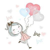 liten flicka springer efter ballonger vektor