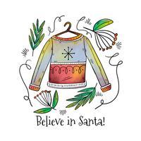 Hässliche Weihnachtsstrickjacke mit Weihnachtsblättern und Zitat vektor