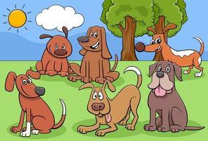 Cartoon Hunde und Welpen Charaktere Gruppe