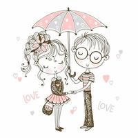 söt pojke och flicka under paraply. möte vous vektor
