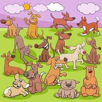 lustige Zeichengruppe der Karikaturhunde und -welpen