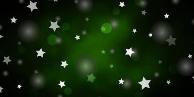 mörkgrön bakgrund med cirklar, stjärnor.