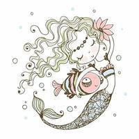 süße kleine Meerjungfrau mit einem Fisch vektor