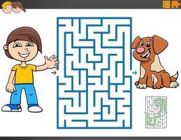 Labyrinthspiel mit Cartoonjunge und Welpe