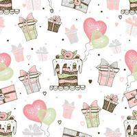 Geburtstagsthema mit Kuchen und Geschenken vektor