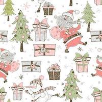 Weihnachtsmann mit Geschenken und Weihnachtsbäumen