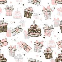födelsedagstema med kakor och presenter vektor