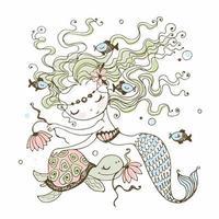 eine süße kleine Meerjungfrau mit einer Schildkröte. vektor