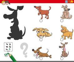 Schattenaufgabe mit Hunden und Welpenfiguren