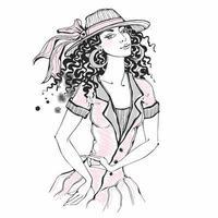 skiss av en elegant tjej med hatt. vektor