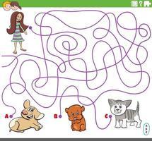 Labyrinthspiel mit Mädchen- und Haustiercharakteren vektor