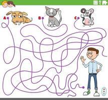 Labyrinthspiel mit Jungen- und Haustiercharakteren vektor