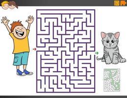 labyrint spel med tecknad pojke och kattunge