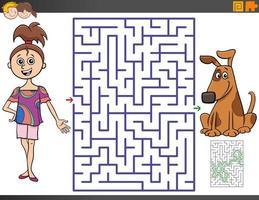 Labyrinthspiel mit Cartoon-Mädchen und Welpe