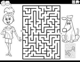 Labyrinth mit Mädchen und Welpen Malbuch Seite