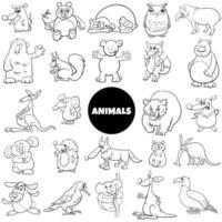 komiska djur karaktärer stor uppsättning färg bok sida vektor