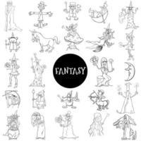 tecknad fantasy karaktärer stor uppsättning färg bok sida