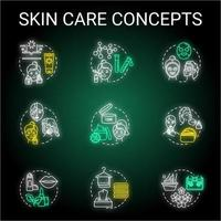 Hautpflegetipps Neonlicht-Konzeptsymbole eingestellt. vektor