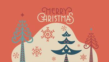 Frohe Weihnachten Retro Folk Pine Web Vorlage vektor