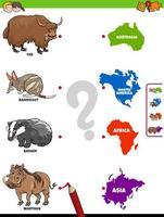 matcha djur och kontinenter pedagogiskt spel för barn vektor