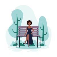 junge Frau sitzt auf dem Parkstuhl vektor