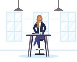 junge Frau sitzt in einem Restaurant vektor