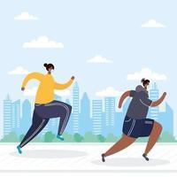 Menschen mit Gesichtsmasken laufen im Freien vektor