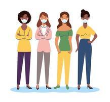 Frauenfiguren der Vielfalt, die Gesichtsmasken tragen vektor