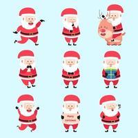 uppsättning jultomte karaktärer tecknad bunt