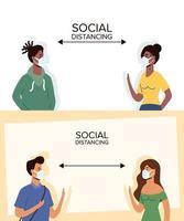 människor social distansering med ansiktsmasker