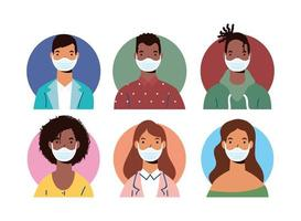 mångfald människor karaktärer bär ansiktsmasker