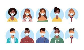 Vielfalt Menschen Charaktere tragen Gesichtsmasken vektor