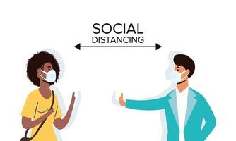 verschiedene Menschen soziale Distanzierung mit Gesichtsmasken vektor