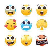 söt emoji-samling vektor