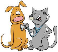 Katze, die den Hund mit Stethoskop-Karikatur untersucht vektor