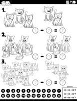 Subtraktion pädagogische Aufgabe mit Katzen Farbbuch Seite vektor