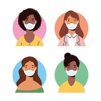 mångfald kvinnokaraktärer som bär ansiktsmasker