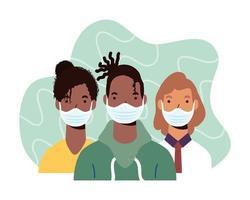 olika karaktärer som bär ansiktsmasker