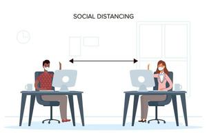 människor med ansiktsmasker social distansering på jobbet